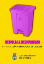 """Cartel del Ayuntamiento de Oviedo """"Recicla la Desigualdad"""""""